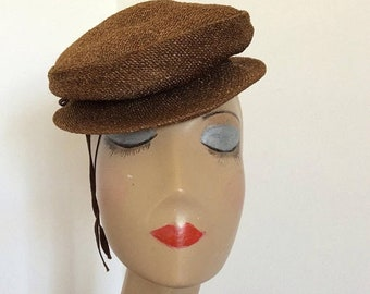 SALE 1940s chocolate brown topper hat by Nat Frank New York