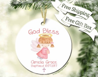 Baptism Ornament | God Bless Baby Girl Ornament | Personalized Gift for Goddaughter | Christening Gift Ornament | Gift for Goddaughter |BC08