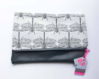 Grey Leather Clutch Bag, Real Leather Fold Over Clutch with a Dragonfly fabric, Handmade Clutch Bag, Leather Clutch, Handmade Bag