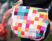 crossbody bag, messenger bag, small bag, colourful plaid pattern, adjustable strap, boho bag, zipper shoulder bag, funny bag, bag for summer