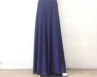 Navy Blue Maxi Skirt. Navy Blue Bridesmaid Skirt. Long Evening Skirt. Lace Floor Length Skirt.