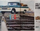 Chevy IFS Truck 1961 Blue White Classic Look Unique Grill 2 pages RR Tracks Color Photo Boxy Chevrolet Truck Fans 13 x 10 Ready to Frame