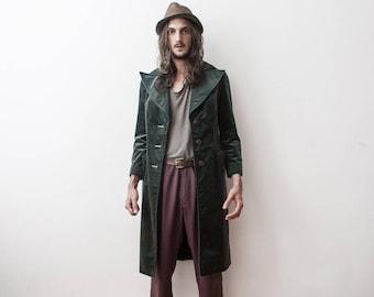 Velvet Jacket Green 60s Trench Coat Forest Green Jacket Outerwear Costume Classy Rare Veste en Velour