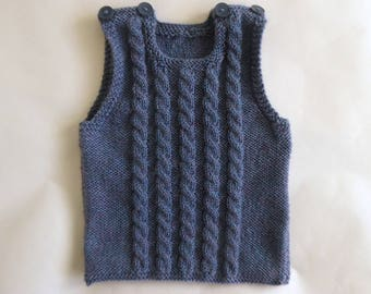Hand knitted vest for baby boy, blue hand knit sleeveless sweater, baby gift, knit baby clothes, baby top 3 months, warm Winter vest