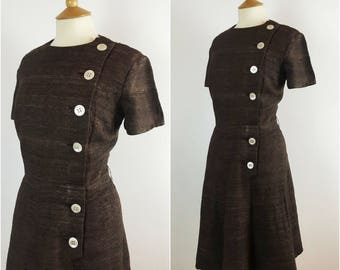 Vintage 1950s Shirtwaist Dress - 50s Brown Wool & Silk Tea Dress - 50s A Line dress - Button Detail - Large - UK 16 / US 12 / EU 44