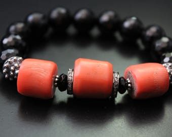 Onyx and old African coral bracelet vintage coral and diamonds bracelet art deco style jewelry boho onyx stretch bracelet coral and onyx