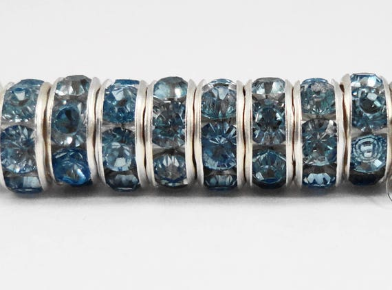 Rhinestone Rondelle Beads 8mm Medium Dusty Blue Silver Plated Metal Acrylic Rhinestone Crystal Spacer Beads 50 Loose Beads per Pack