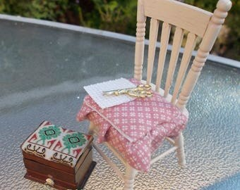 1/12th dollhouse miniature Sewing Chair with Sewing Box
