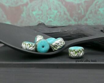 Stamped Polymer Mini Rondelle Bead - Green Teal Antique Silver - Handmade Bohemian Artisan Bead - 8mm - Pkg. 6