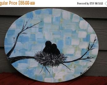 SALE Original Modern  Love  Birds  Nest  Acrylic Impasto  Palette Knife  Painting. Size 20 X16.