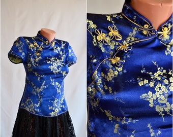 Vintage Traditional Chinese Top size S 34 Blue Gold Floral Blouse Ethno Asia Wear