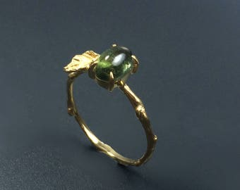 Tourmaline ring Branch ring Vermeil twig ring Nature inspired ring