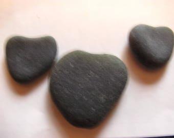 Set of 3 green sea glass hearts