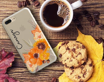 Clear floral Iphone 7 case, Fall iPhone 6s case, Orange flowers and acorns - For 5/5s/SE,  6/6s /Plus, 7 /Plus - Summer party gift  (1808)