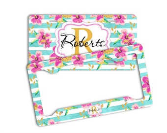 Stripes license plate with name, Blue and pink, Faux gold foil flowers, Gift for new mother, Pink car accessories, Gift for her (1791)