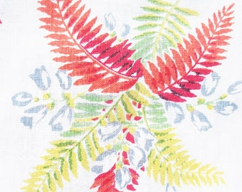 "Vintage Linen Tablecloth 50""x 50"" ~ Multicolored Ferns, On a Bright White Background, Floral, Cottage, Red, Chartreuse, Mid Century"