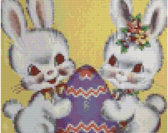 Vintage Easter Bunnies Cross Stitch Pattern, Digital Download PDF