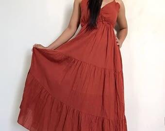 Sexy.....Orange Drak  Maxi Beautiful  cotton Dress/Summer Dress/Party Dress