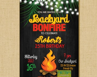 Bonfire Invitation, Campfire Invitation, Bonfire and Smores Invitation, Camping Invitation, Camping Birthday Invitation, Bonfire Birthday In