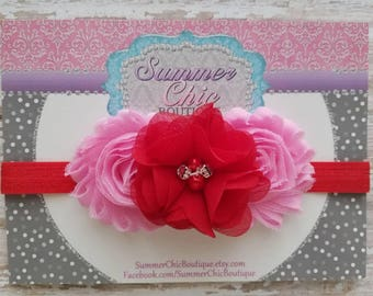 Valentine Headband, Red and Pink Baby Headband, Infant Headband, Newborn Headband, Red Headband, Red and Pink Baby Headband