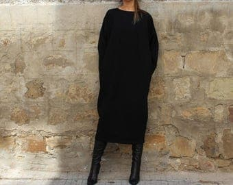SALE ON 20 % OFF Black Maxi dress, Midi dress, Fall Winter dress, Plus size dress, Long sleeve dress, Plus size clothing