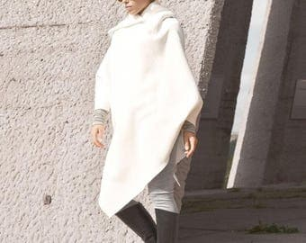 New Hooded Romantic Poncho /  Extravarant Off Whit  Asymmetric Hoodie / Cotton Hooded Top/ Oversized by AAKASHA A07583