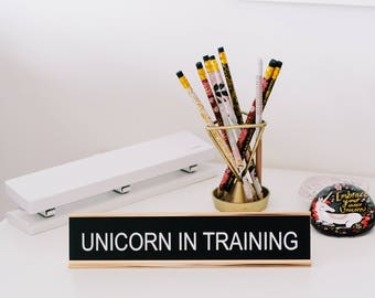 Funny Desk Sign, Office Sign, Office Decor, Desk Name Tag, Gifts for Teachers, Christmas Gift, Nameplate Desk Sign, Unicorn Gifts
