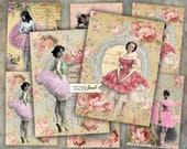 Ballerina - digital collage sheet - set of 6 - Printable Download