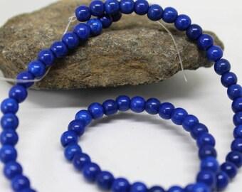 6 mm Lapis Blue Turquoise Magnesite Round Beads