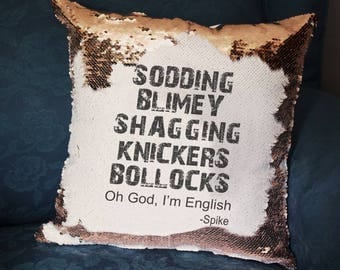 Spike Quote, James Masters, Buffy Summers, BTVS, Buffy The Vampire Slayer, Buffy Gift, BTVS Cushion, Hidden Message, Mermaid Cushion