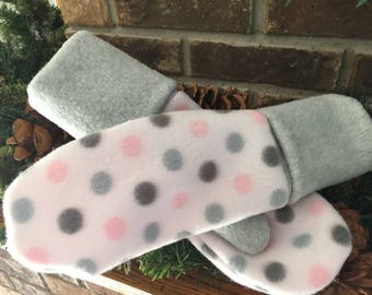 Fleece winter mittens.  Warm winter mittens.  Gray & pink mittens