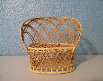 Miniature wicker settee love-seat chair, Bohemian decor, Vintage wicker plant stand, Jungalow style, Boho decor, Shelfie, Plant display