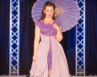Vintage 1952 Reproduction Purple Wrap Dress Small/Medium Gingham Pinup Retro Rockabilly