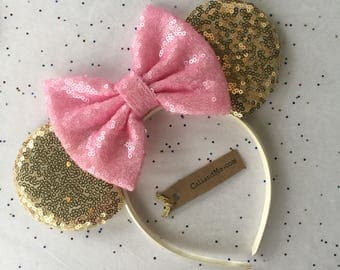 Gold and Pink Minnie Mouse Ears, Pink Minnie Mouse Ears, Gold and Pink Minnie Birthday Party, Mickey Mouse Ears
