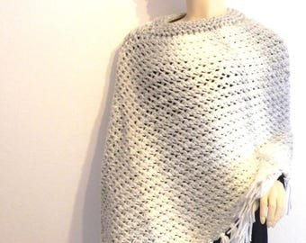 trendy poncho women's fashion accessories grey/ecru hand knitted mohair wool shawl one size fits