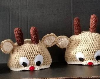 Reindeer Hat,Christmas Gift, Baby Gift, Gift for Her, Gift For Him, Baby Shower Gift,  Birthday Gift, Christmas Gift,  Holiday Gift.