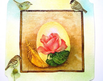 "Postcard ""three little birds and a rose""."