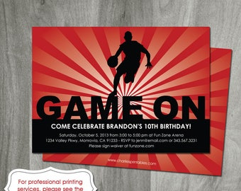 Basketball Birthday Invitation, Sports Party, Personalized, Diy Party Printable, Digital File, Game On, Boy Birthday, Red, Double Sided