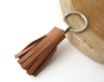 Keychain, Pompon, Leather, Camel