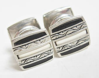 EDWARDIAN Antique 1920s Silver Black & White NOUVEAU REPOUSSE Stripe Enamel Snap Link Cuff Links Downton Gatsby Gothic Cufflinks Jewelry