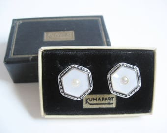 DECO Antique 1920s Silver MOP Seed Pearl Nouveau Repousse KUMAPART Snap Link Cuff Links in Original Box Edwardian Downton Gatsby Jewelry