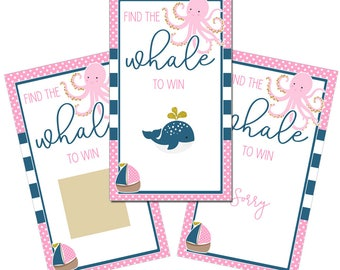 Set of 12 Scratch Off Game Cards with Tropical Nautical Pink Whale Coastal Scratchers in Pink, Navy Blue and Gold CSC052