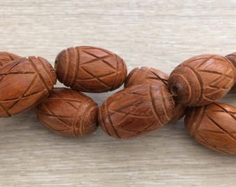 Carved Wood Beads, Natural Wood Beads, Bayong wood Beads, 29x18 mm