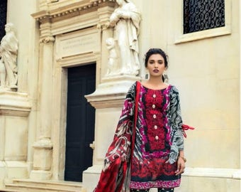 Zainab Chottani embroidered lawn, women clothing, original, pakistani clothes, red and black salwar
