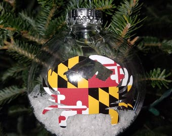 MD Maryland Flag Crab Themed Ornament (Med)