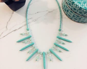 Turqoise & Crystal Collar Necklace