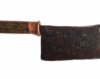 Butcher knife, hand forged knife, Antique Meat Cleaver. Vintage Meat Chopper from 1940s