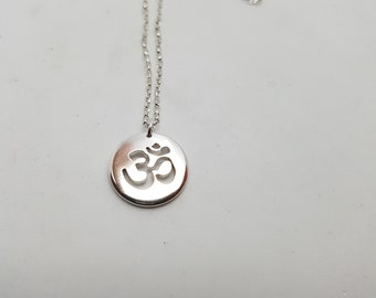 Om Necklace Sterling Silver Yoga Necklace Om Jewellery Buddhist Jewelry