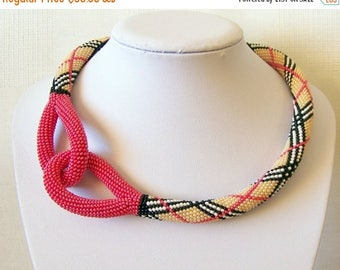 15% SALE Beaded Crochet Knot Rope Necklace - Beadwork necklace - geometric striped necklace - modern statement necklace - red knot necklace