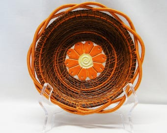 Orange Basket Orange Pine Needle Basket Rust Pine Needle Coiled Basket Native American Pine Needle Coiled Basket Housewarming Basket For Her